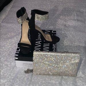 Black heels w/diamond ankle matching diamond purse